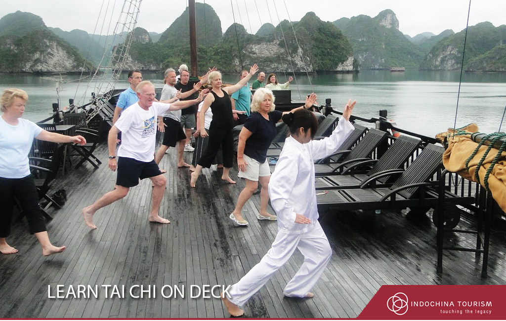 Learn Tai Chi on deck halong bay